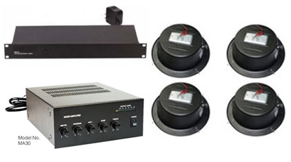 This Kit comes with  Soundmasking Generator, Soundmasking Speakers, Soundmasking, Paging Music and Masking Mixer Amplifier